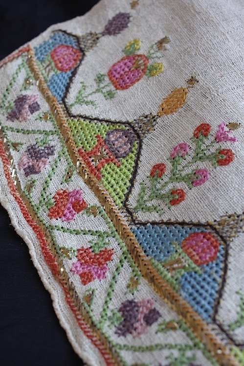 serviette brode antique アンティーク 刺繍 リネン オリエンタル 13
