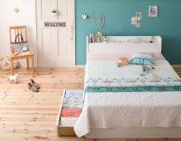 棚・コンセント付き収納ベッド【Fleur】フルール ショート丈 ショートベッド 短いベッド