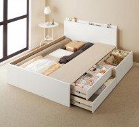 【組立設置】日本製_棚・コンセント・仕切り板付き大容量チェストベッド【Inniti】イニティ ダブルベッド