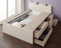 【組立設置】日本製・棚・コンセント・大容量チェストベッド【Spatium】スパシアン ベッド