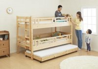 タイプが選べる頑丈ロータイプ収納式3段ベッド【fericica】フェリチカ 2段ベッド