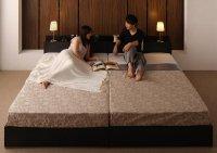 棚・コンセント・収納付き大型モダンデザインベッド【Deric】デリック 収納ベッド