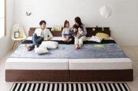 棚・コンセント・収納付き大型モダンデザインベッド【Cedric】セドリック 連結・家族ファミリーベッド