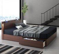 モダンライト・コンセント付きスリムデザイン収納ベッド【Federal】フェデラル 茶色・ブラウンベッド