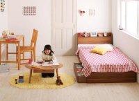 ショート丈・棚・コンセント・収納ベッド【Paola】パオラ ショートベッド 短いベッド