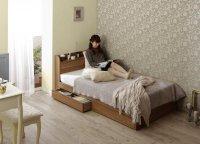 ショート丈・棚・コンセント・収納ベッド【Caterina】カテリーナ ショートベッド 短いベッド