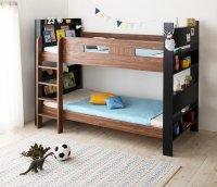 棚・コンセント付き連結2段ベッド【alicia】アリシア 棚付きベッド