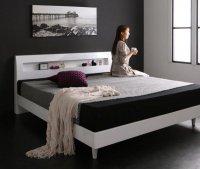 鏡面光沢仕上げ・モダンデザインすのこベッド【Morenoble】モアノーブル ホワイト・白いベッド