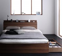 スリム棚・多コンセント・収納ベッド【Reallt】リアルト 布団が使えるベッド
