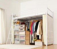 高さが選べるカーテン・ハンガーポール・ロフトベッド【Altura】アルトゥラ ブラック・黒いベッド