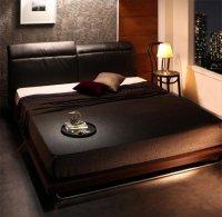 リクライニング機能付き・異素材MIXデザインローベッド【Merkur】メルクーア 高級ベッド