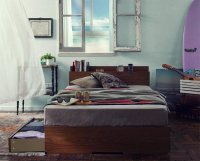 棚・コンセント付き収納ベッド【Arcadia】アーケディア 収納ベッド