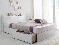 棚・コンセント付きハイグロス収納ベッド【Champanhe】シャンパニエ キングサイズ クイーンサイズ 大きいベッド