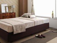 ホテル仕様デザインダブルクッションベッド 茶色・ブラウンベッド