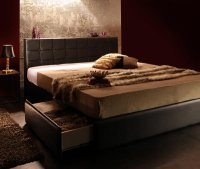 モダンデザイン・高級レザー大型サイズ収納ベッド Urano ウラーノ 高級ベッド
