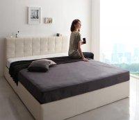 モダンデザイン・高級レザー大型サイズ収納ベッド Solare ソラーレ キングサイズ クイーンサイズ 大きいベッド