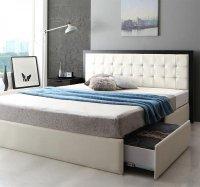 モダンデザイン・高級レザー大型サイズ収納ベッド Refinade レフィナード キングサイズ クイーンサイズ 大きいベッド