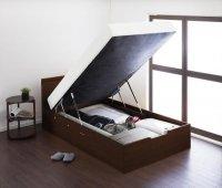 すのこ構造_棚・コンセント付き_ガス圧式大容量跳ね上げベッド Prepare プリペール 収納ベッド
