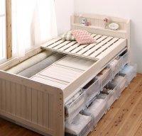大容量収納できる4段階高さ調節 天然木すのこベッド Jossette ジョゼット シングルベッド