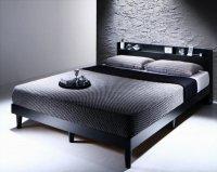 棚・コンセント付きデザインすのこベッド Morgent モーゲント ウォルナットブラウンベッド