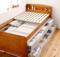 大容量収納できる4段階高さ調節天然木すのこベッド lahairu ラハイル 布団が使えるベッド