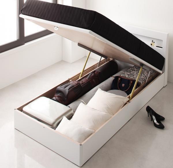 ガス圧式跳ね上げ 鏡面仕上げ収納ベッド 【Zenit】ツェニート