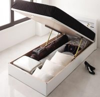 ガス圧式跳ね上げ 鏡面仕上げ収納ベッド 【Zenit】ツェニート 棚付きベッド