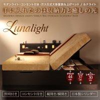 モダンライト・コンセント_ガス圧式大容量跳ね上げベッド Lunalight ルナライト ダークブラウンベッド
