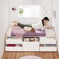 お客様組立 日本製_ヘッドレス大容量コンパクトチェストベッド【Creacion】クリージョン ショートベッド 短いベッド