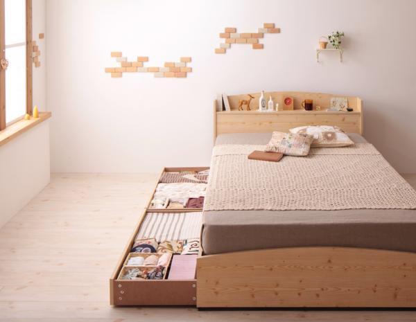 カントリーデザインのコンセント付き収納ベッド【Sweet home】スイートホーム