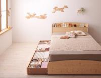 カントリーデザインのコンセント付き収納ベッド【Sweet home】スイートホーム 組立設置オプションあり