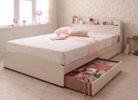 フレンチカントリーデザインのコンセント付き収納ベッド【Bonheur】ボヌール ホワイト・白いベッド