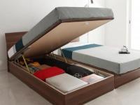 ガス圧式跳ね上げ収納ベッド【Freizeit】フライツァイト 小さいベッド セミシングル