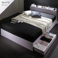 ベッド 収納付き 引き出し付き 木製 棚付き 宮付き コンセント付き シンプル モダン BL WH ベッドフレーム