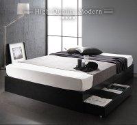 ベッド 収納付き 引き出し付き 木製 省スペース コンパクト ヘッドレス シンプル モダン BL WH ヘッドレスベッド