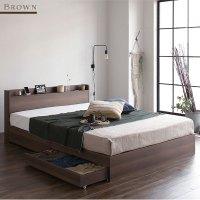 ベッド 収納付き 引き出し付き 木製 棚付き 宮付き コンセント付き シンプル モダン ヴィンテージ BL BR 茶色・ブラウンベッド