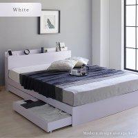 ベッド 収納付き 引き出し付き 木製 棚付き 宮付き コンセント付き シンプル グレイッシュ モダン BL WH ベッドフレーム