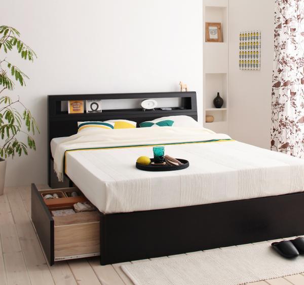 棚・コンセント付き収納ベッド【Fratte】フラッテ