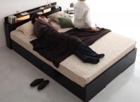 棚・照明・収納ベッド【Roi-long】ロイ・ロング ブラック・黒いベッド