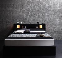 モダンライト・コンセント収納ベッド【Modellus】モデラス ブラック・黒いベッド