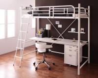 3段可動デスク&コンセント宮棚付きロフトベッド【Strain】ストレイン 収納ベッド