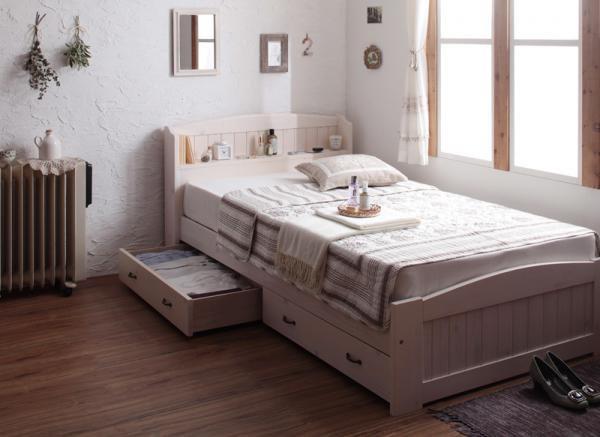 ショート丈天然木カントリー調コンセント収納ベッド【Reine】レーヌ