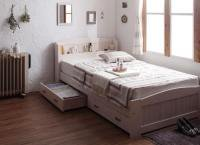 ショート丈天然木カントリー調コンセント収納ベッド【Reine】レーヌ 収納ベッド