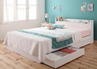 棚・コンセント収納ベッド【Fleur】フルール 収納ベッド
