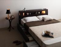 モダンライト・コンセント 収納ベッド【Viola】ヴィオラ 引き出しBOX構造ベッド
