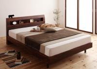 棚・コンセント・デザインすのこベッド【Haagen】ハーゲン 茶色・ブラウンベッド