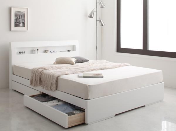 棚・コンセント デザイン収納ベッド【Silvia】シルビア