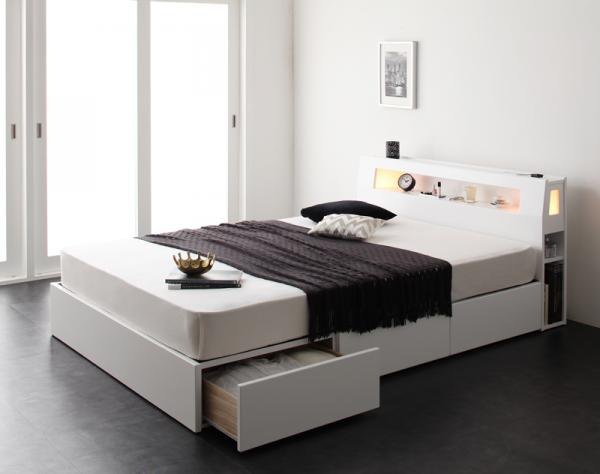 モダンライト・コンセント・収納ベッド【Cher】シェール