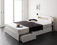 モダンライト・コンセント・収納ベッド【Cher】シェール 引き出しBOX構造ベッド
