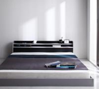 二段の棚・コンセント フロアベッド【W.LAYER】ダブル・レイヤー ブラック・黒いベッド